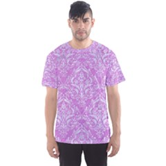 Damask1 White Marble & Purple Colored Pencil Men s Sports Mesh Tee