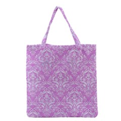 Damask1 White Marble & Purple Colored Pencil Grocery Tote Bag