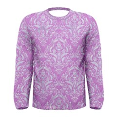 Damask1 White Marble & Purple Colored Pencil Men s Long Sleeve Tee