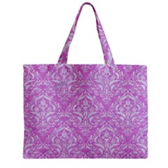 Damask1 White Marble & Purple Colored Pencil Zipper Mini Tote Bag