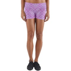 Damask1 White Marble & Purple Colored Pencil Yoga Shorts