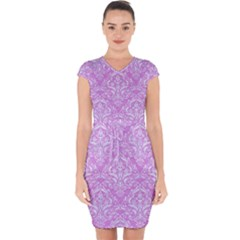 Damask1 White Marble & Purple Colored Pencil Capsleeve Drawstring Dress