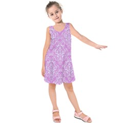 Damask1 White Marble & Purple Colored Pencil Kids  Sleeveless Dress