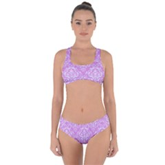 Damask1 White Marble & Purple Colored Pencil Criss Cross Bikini Set