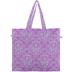Damask1 White Marble & Purple Colored Pencil Canvas Travel Bag by trendistuff