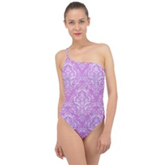 Damask1 White Marble & Purple Colored Pencil Classic One Shoulder Swimsuit