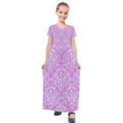 Damask1 White Marble & Purple Colored Pencil Kids  Short Sleeve Maxi Dress