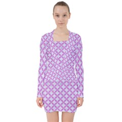 Circles3 White Marble & Purple Colored Pencil (r) V Neck Bodycon Long Sleeve Dress