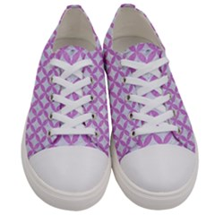 Circles3 White Marble & Purple Colored Pencil (r) Women s Low Top Canvas Sneakers