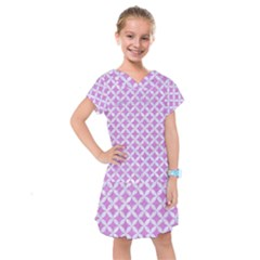 Circles3 White Marble & Purple Colored Pencil Kids  Drop Waist Dress