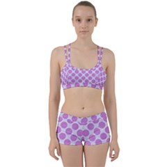 Circles2 White Marble & Purple Colored Pencil (r) Women s Sports Set
