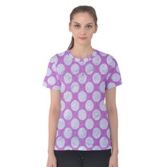 Circles2 White Marble & Purple Colored Pencil Women s Cotton Tee