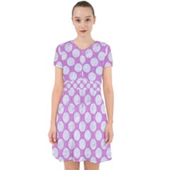Circles2 White Marble & Purple Colored Pencil Adorable In Chiffon Dress