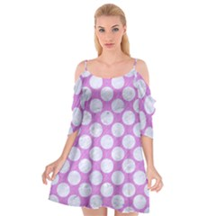 Circles2 White Marble & Purple Colored Pencil Cutout Spaghetti Strap Chiffon Dress