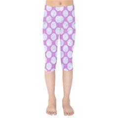 Circles2 White Marble & Purple Colored Pencil Kids  Capri Leggings