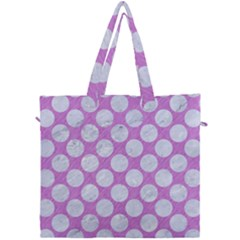 Circles2 White Marble & Purple Colored Pencil Canvas Travel Bag by trendistuff