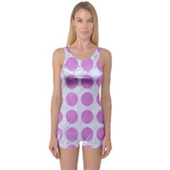 Circles1 White Marble & Purple Colored Pencil (r) One Piece Boyleg Swimsuit