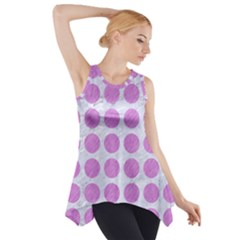 Circles1 White Marble & Purple Colored Pencil (r) Side Drop Tank Tunic