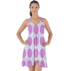 Circles1 White Marble & Purple Colored Pencil (r) Show Some Back Chiffon Dress