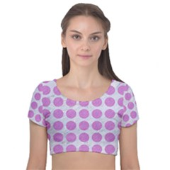 Circles1 White Marble & Purple Colored Pencil (r) Velvet Short Sleeve Crop Top