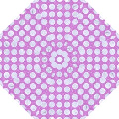 Circles1 White Marble & Purple Colored Pencil Golf Umbrellas