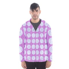 Circles1 White Marble & Purple Colored Pencil Hooded Windbreaker (men)