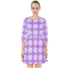 Circles1 White Marble & Purple Colored Pencil Smock Dress