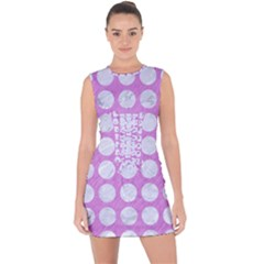 Circles1 White Marble & Purple Colored Pencil Lace Up Front Bodycon Dress