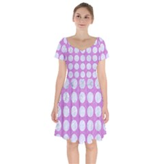 Circles1 White Marble & Purple Colored Pencil Short Sleeve Bardot Dress
