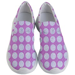 Circles1 White Marble & Purple Colored Pencil Women s Lightweight Slip Ons