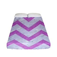 Chevron9 White Marble & Purple Colored Pencil (r) Fitted Sheet (full/ Double Size)