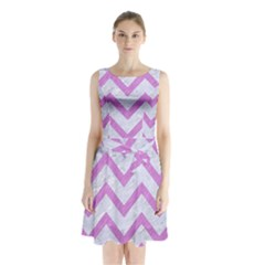 Chevron9 White Marble & Purple Colored Pencil (r) Sleeveless Waist Tie Chiffon Dress