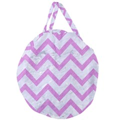 Chevron9 White Marble & Purple Colored Pencil (r) Giant Round Zipper Tote