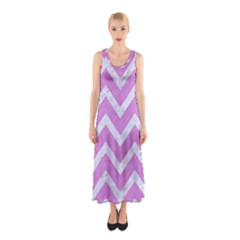 Chevron9 White Marble & Purple Colored Pencil Sleeveless Maxi Dress