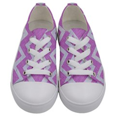 Chevron9 White Marble & Purple Colored Pencil Kids  Low Top Canvas Sneakers