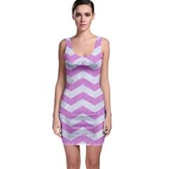 Chevron3 White Marble & Purple Colored Pencil Bodycon Dress
