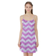 Chevron3 White Marble & Purple Colored Pencil Satin Night Slip