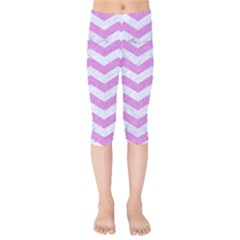 Chevron3 White Marble & Purple Colored Pencil Kids  Capri Leggings