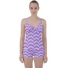 Chevron2 White Marble & Purple Colored Pencil Tie Front Two Piece Tankini