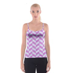 Chevron1 White Marble & Purple Colored Pencil Spaghetti Strap Top