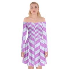 Chevron1 White Marble & Purple Colored Pencil Off Shoulder Skater Dress