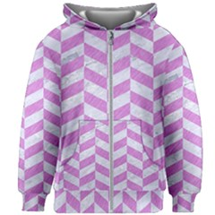 Chevron1 White Marble & Purple Colored Pencil Kids Zipper Hoodie Without Drawstring