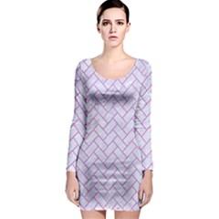Brick2 White Marble & Purple Colored Pencil (r) Long Sleeve Bodycon Dress
