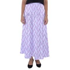 Brick2 White Marble & Purple Colored Pencil (r) Flared Maxi Skirt