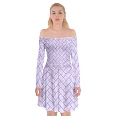 Brick2 White Marble & Purple Colored Pencil (r) Off Shoulder Skater Dress