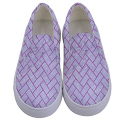 Brick2 White Marble & Purple Colored Pencil (r) Kids  Canvas Slip Ons
