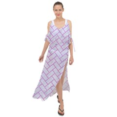Brick2 White Marble & Purple Colored Pencil (r) Maxi Chiffon Cover Up Dress