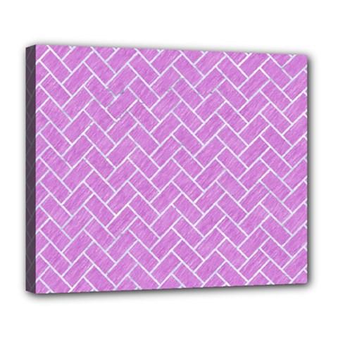 Brick2 White Marble & Purple Colored Pencil Deluxe Canvas 24  X 20