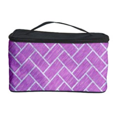 Brick2 White Marble & Purple Colored Pencil Cosmetic Storage Case