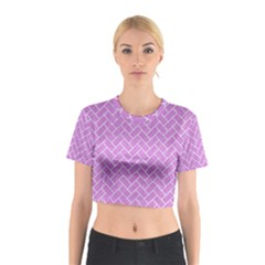 Brick2 White Marble & Purple Colored Pencil Cotton Crop Top by trendistuff